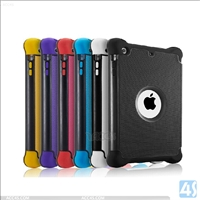 PU plastic silicon 3in1 shockproof case for ipad air 2