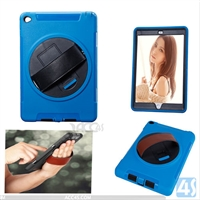 360 Rotation Anti Shock Kick Stand Case for iPad Air 2 with Leather Hand Strap