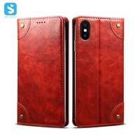 Cowhide grain wallet leather case for iphone XS MAX