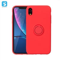 liquid silicone with ring case for iphone xs