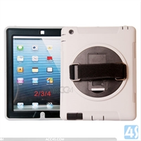 360 Rotation Anti Shock Kick Stand Case for iPad 4 3 2 with Hand and Shoulder strap