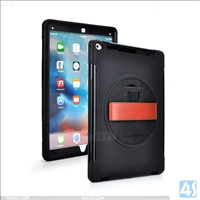 360 Rotation Anti Shock Kick Stand Case for iPad Pro 12.9 with Leather Hand Strap