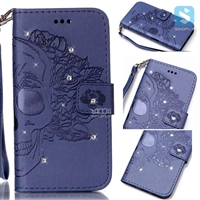 Flower Pattern Bling Insert PU Leather Wallet Case for SAMSUNG Galaxy S7 /G930