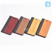 Wood PU Leather Wallet Case for iPhone 7