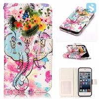 Printed PU Leather Wallet Case for Apple iPod Touch 5