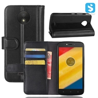 Genuine Leather Wallet Case for MOTOROLA Moto C Plus
