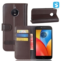 Genuine Leather Wallet Case for MOTOROLA Moto E4 Plus