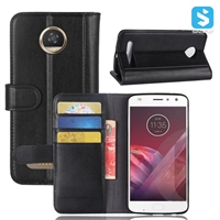 Genuine Leather Wallet Case for MOTOROLA Z2 Play