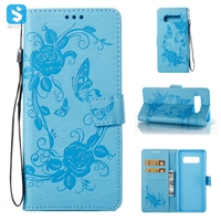 Embossed Flower PU Leather Wallet Case for Samsung Galaxy Note 8