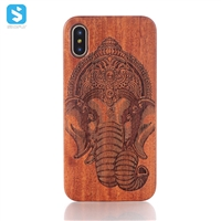 Engraved Pattern Real Wood Case for iPhone X(S)
