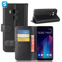 Genuine Leather Wallet Case for HTC U11 Plus