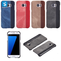 Contrast Color PU Leather Back Cover for Samsung Galaxy S7 Edge /G935