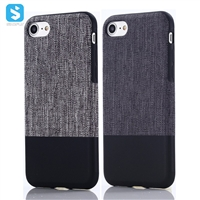 Contrast Color Stick Fabric Pattern PU TPU Back Cover for iPhone 7 8