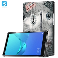 Printed Tri Fold PU Leather Case for Huawei MediaPad M3 8.4