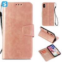 PU Leather Wallet Case for iPhone X with Hand Holder