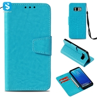 PU Leather Wallet Case for Samsung Galaxy S8 with Hand Holder