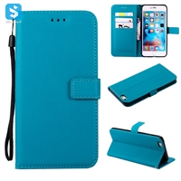 pure color lambskin leather wallet phone case for iPhone 6(s) plus