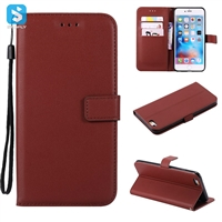 Pure color lambskin leather wallet phone case for iPhone 6(s)