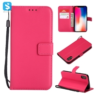 pure color lambskin leather wallet phone case for iPhone X