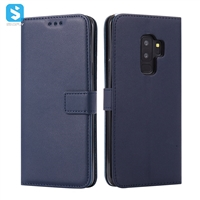 pure color lambskin leather wallet phone case for Samsung Galaxy S9