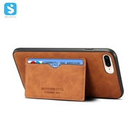 leather back cover with stand and card slot for iPhone 7 8 plus
