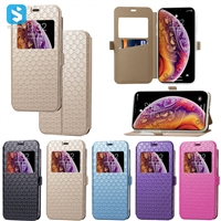 visible style diamond pattern PU case for iphone X(S)