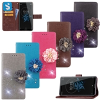 with drill adorns the flower leather cover for Sony Xperia Z3