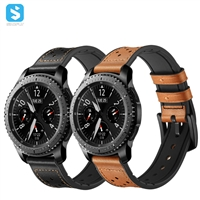 silicone Genuine leather watchband for Samsung Gear S3