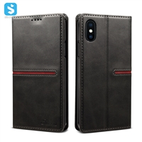 Cowhide lines wallet leather case for iphone X(S)