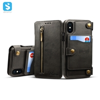 2 in 1 Cowhide lines leather case for iPhone XS
