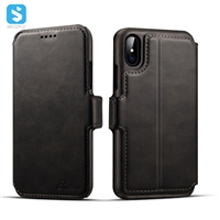 2 in 1 Cowhide lines wallet leather case for iphone X(S)